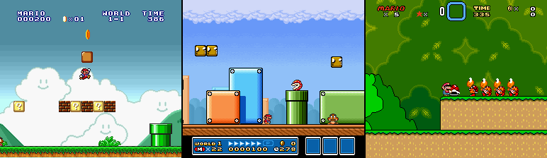Only after cobbling this image together did I realize the small Mario sprite for the All Stars versions of Mario 1 and 3 were palette swaps of each other.