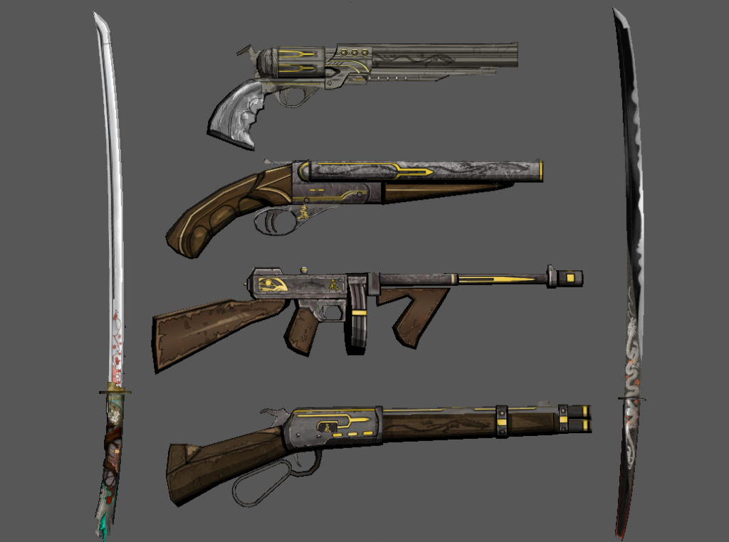 Not pictured: the prorder weapons. Fun fact: you can find the codes to unlock them online.