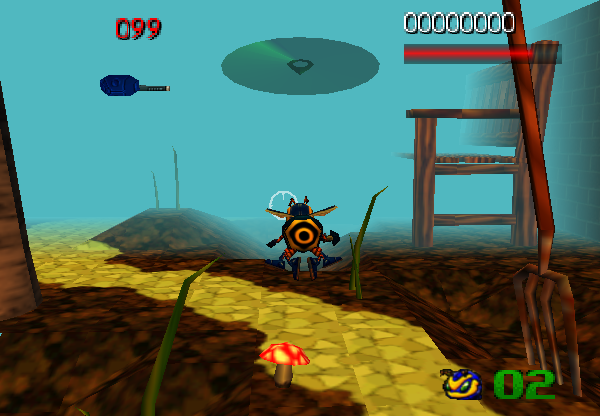 Can you spot the graphical glitch? On the lower left edge of the screen, a little bit of level geometry was erroniously culled out.